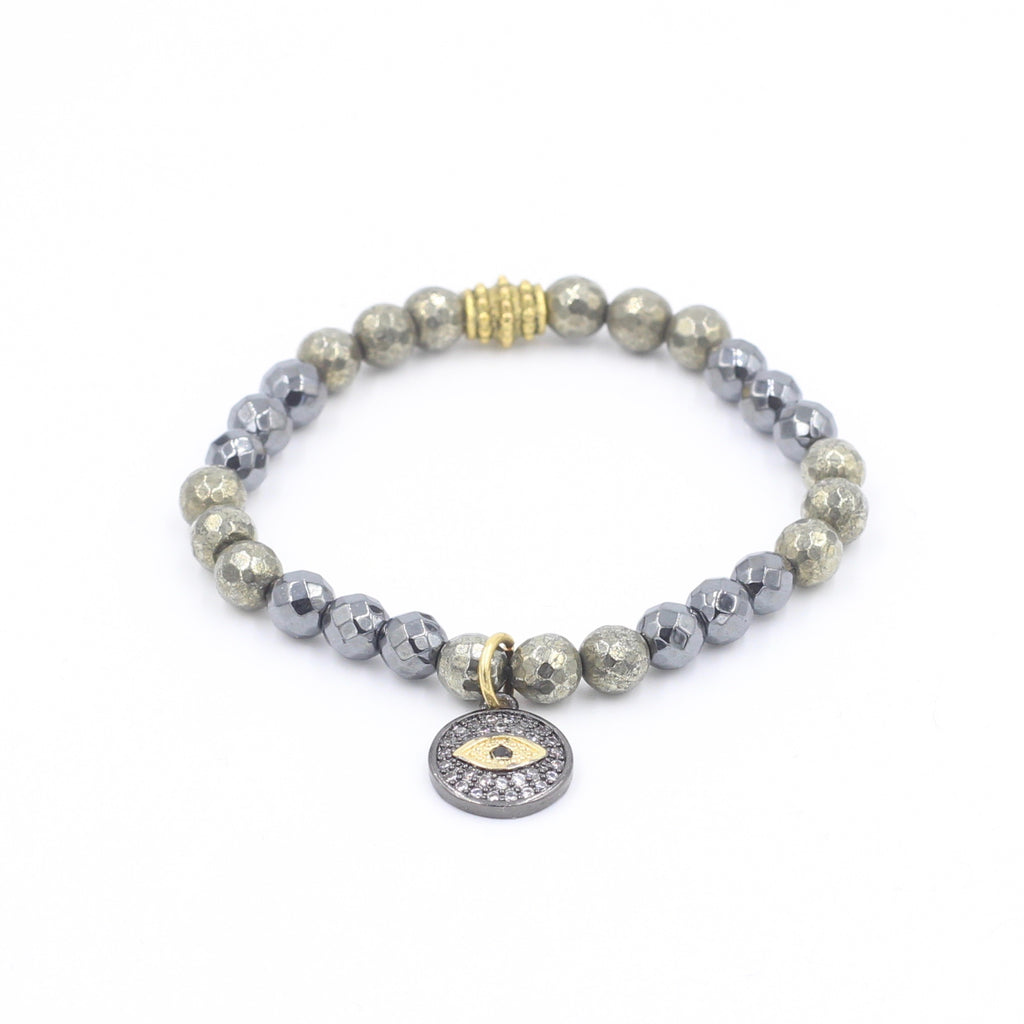 Pyrite & Hematite Bracelet with Round Eye Charm