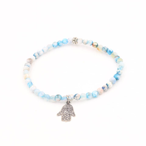 Blue Fire Agate Bracelet with Hamsa