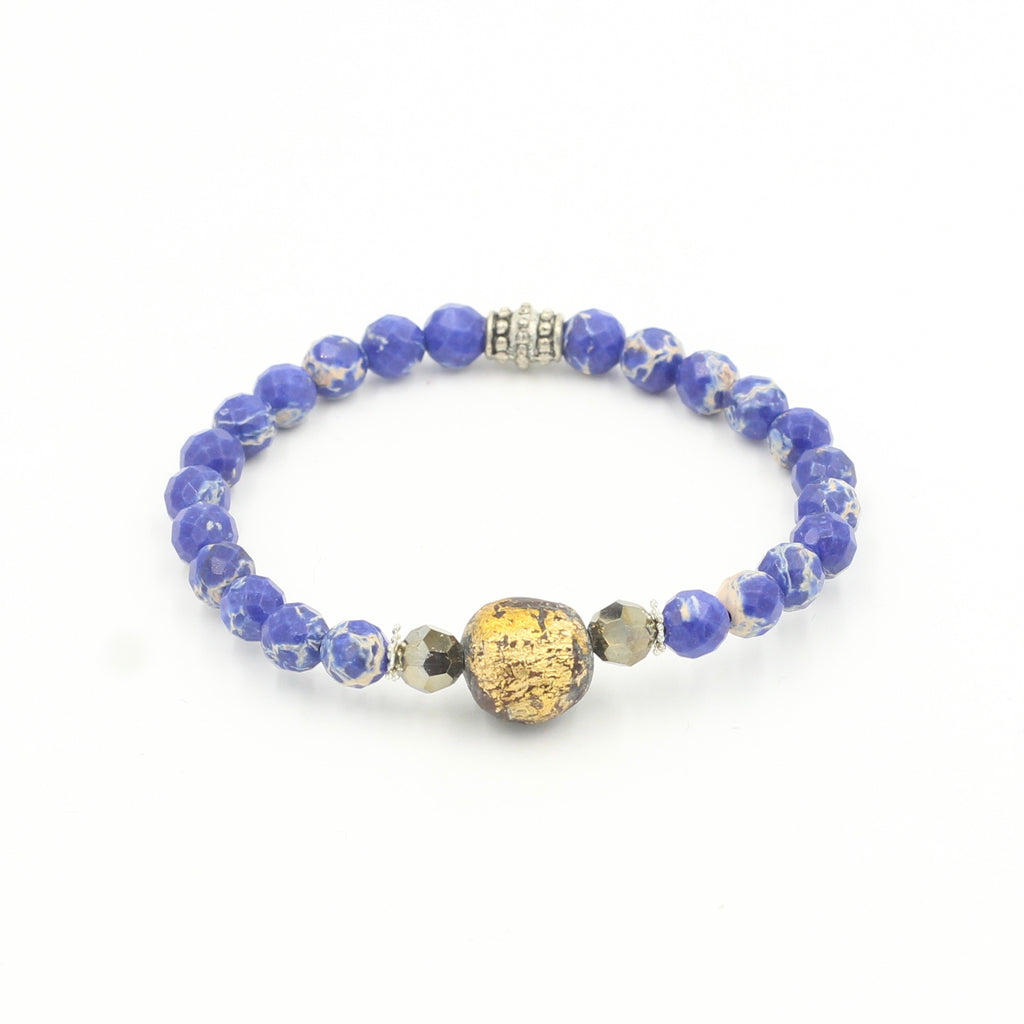 Blue Jasper Bracelet with African Bead