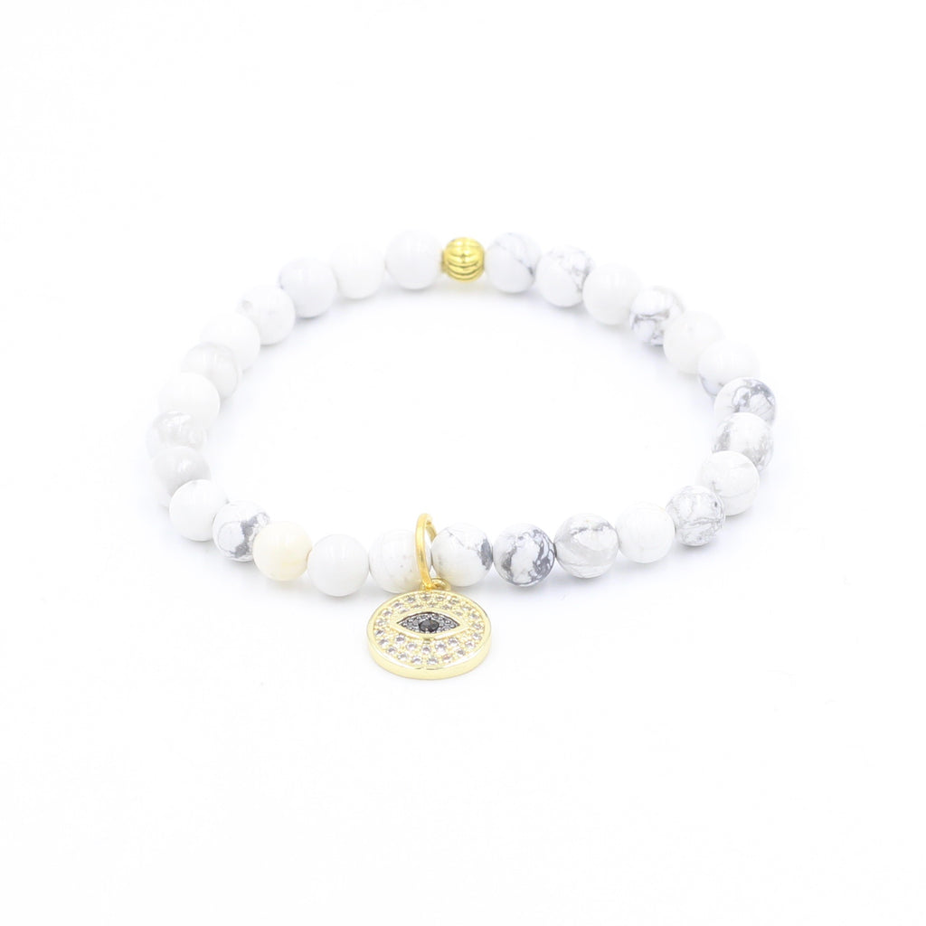 Howlite Bracelet with Gold Pave Eye