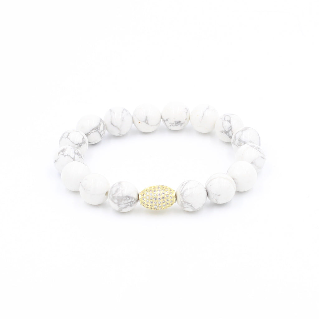 Howlite Bracelet with Oval Bead
