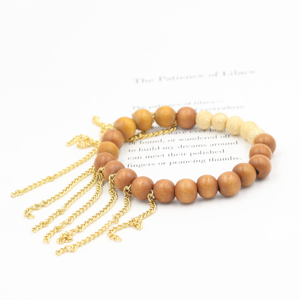 Wood Bracelet with Gold Stardust