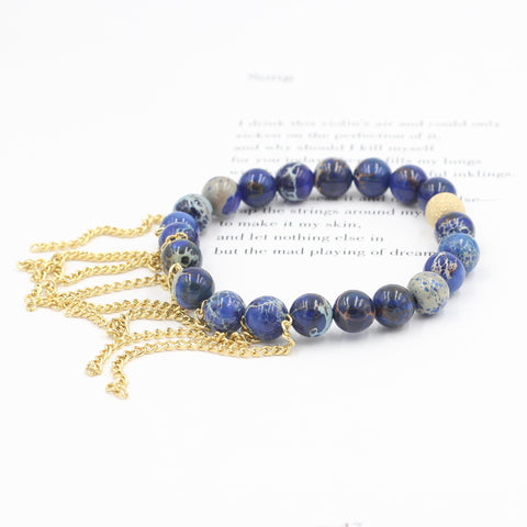 Blue Sea Jasper Bracelet with Fringe