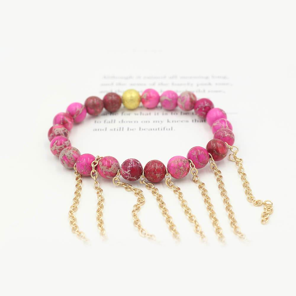 Susan Balaban Designed Healing Bracelet - This pink healing yoga bracelet is made of rose jasper and fringe for hope and joy.
