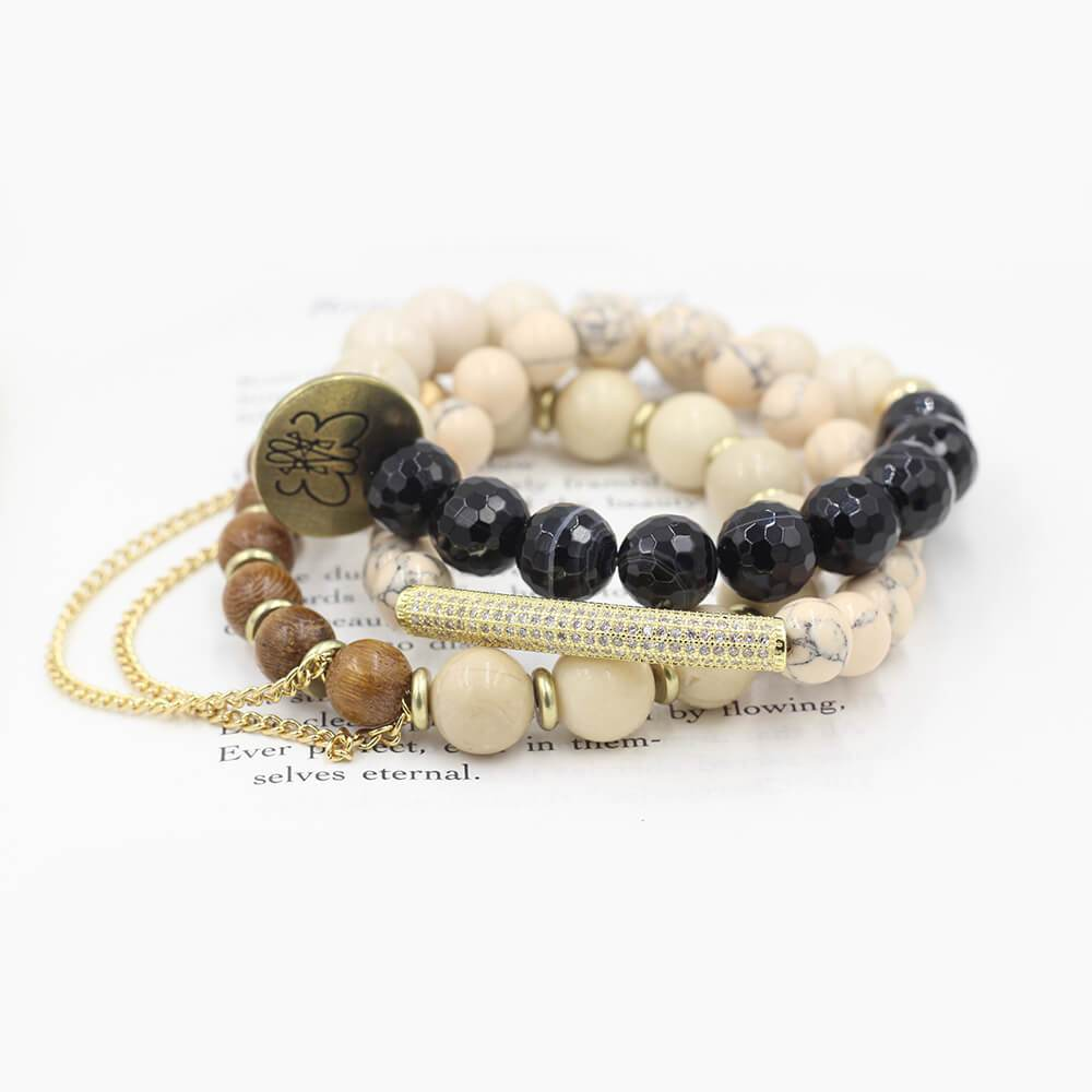 Susan Balaban Designed Healing Bracelet - These pink and black healing yoga bracelets with magnesite and jasper for peace, acceptance, self-compassion.