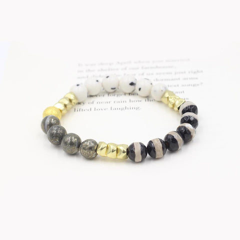 Susan Balaban Designed Healing Bracelet - This jade, tibetan agate and iron pyrite healing yoga bracelet for connection and growth.