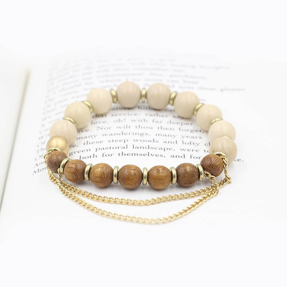 Susan Balaban Designed Healing Bracelet - This brown and white healing yoga bracelet with riverstone and wood for support and commitment.