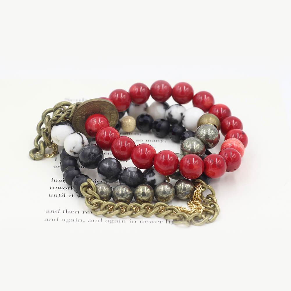 Susan Balaban Designed Healing Bracelet - These red black and white healing yoga bracelets are made of coral, jasper and vintage coins for passion, love, energy.