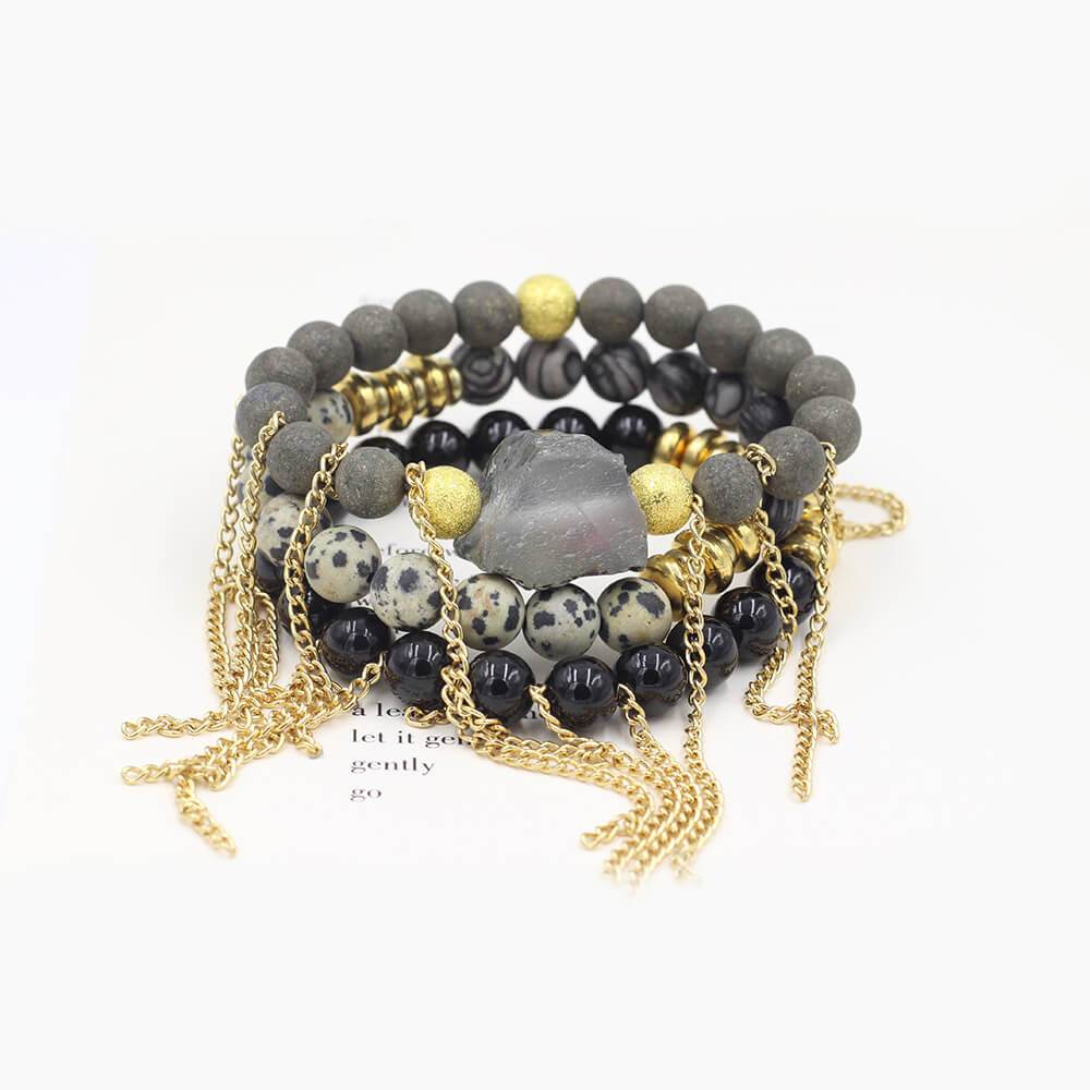 Susan Balaban Designed Healing Bracelet - These black, white and gold healing yoga bracelets are made of pyrite, dalmation jasper, silkstone & big druzy for looking forward, gratitude