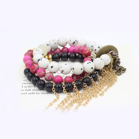 Susan Balaban Designed Healing Bracelet - These pink and black healing yoga bracelets are made of rose jasper, black tourmaline, jade and fringe for new beginning.