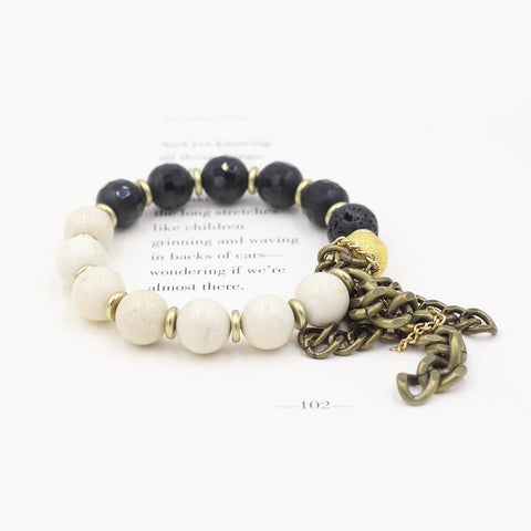 Susan Balaban Designed Healing Bracelet - This black, lava and riverstone healing yoga bracelet for being awake and alive.