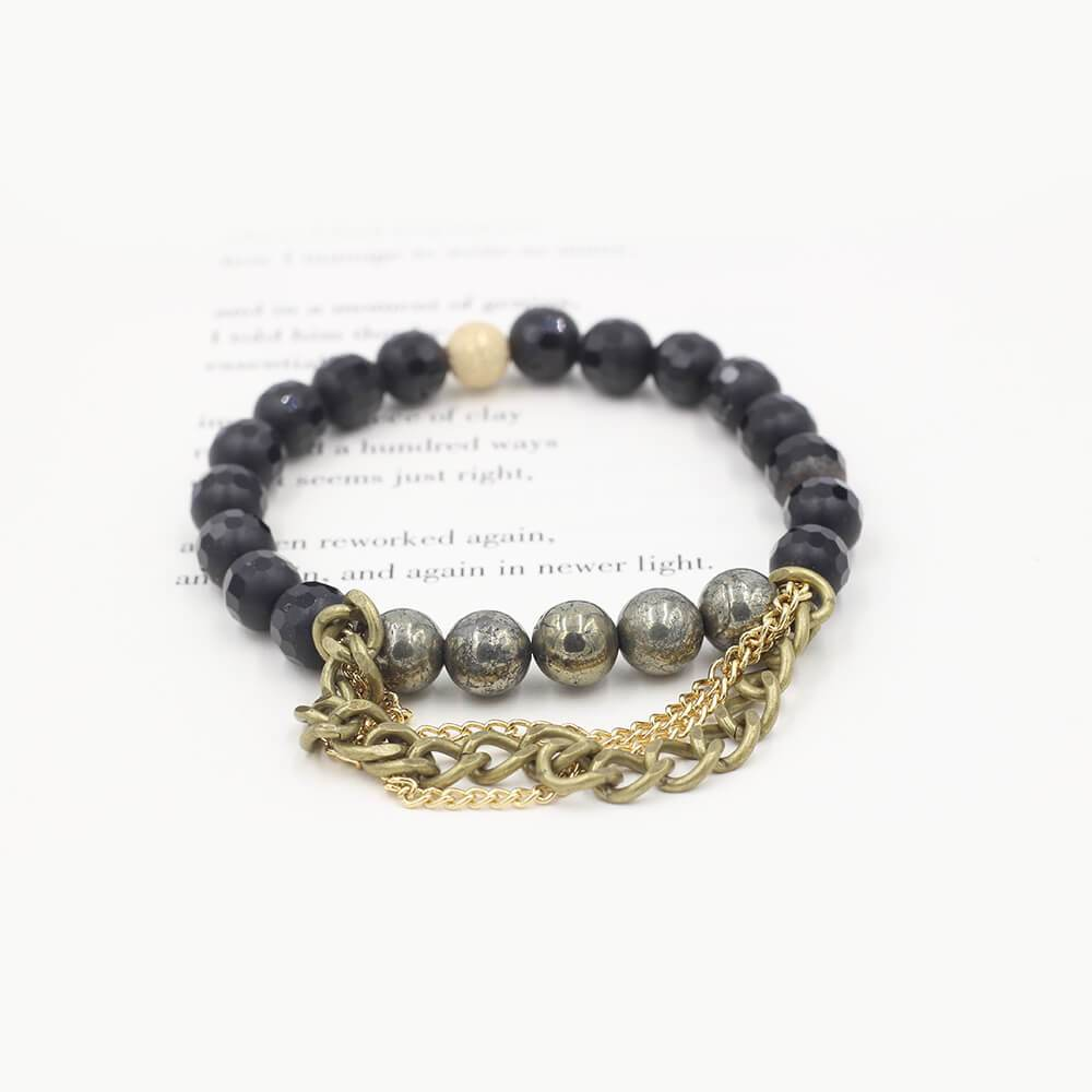Susan Balaban Designed Healing Bracelet - This black healing yoga bracelet is made of faceted black agate, pyrite & chain for vitality, healing.