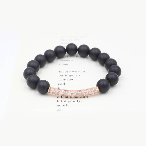 Susan Balaban Designed Healing Bracelet - This black healing yoga bracelet is made of agate and shimmer for wisdom and intuition.