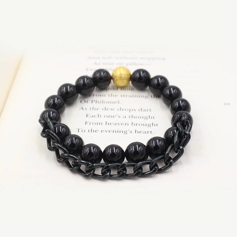 Susan Balaban Designed Healing Bracelet - This black healing yoga bracelet is made of tourmaline and chain for clarity and protection.