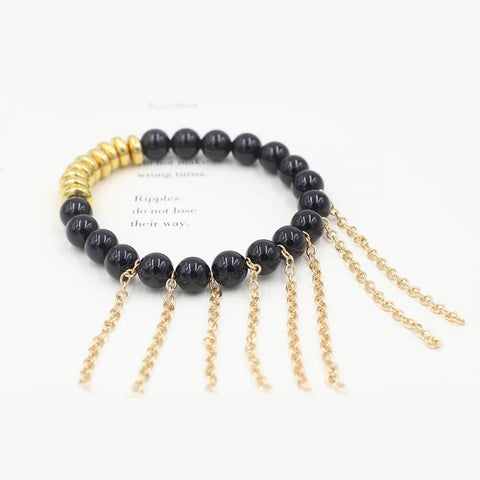Susan Balaban Designed Healing Bracelet - This black healing yoga bracelet is made of tourmaline and fringe for power and confidence.