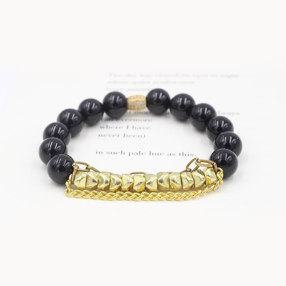 Susan Balaban Designed Healing Bracelet - This black healing yoga bracelet is made of agate and tourmaline for strength and protection.