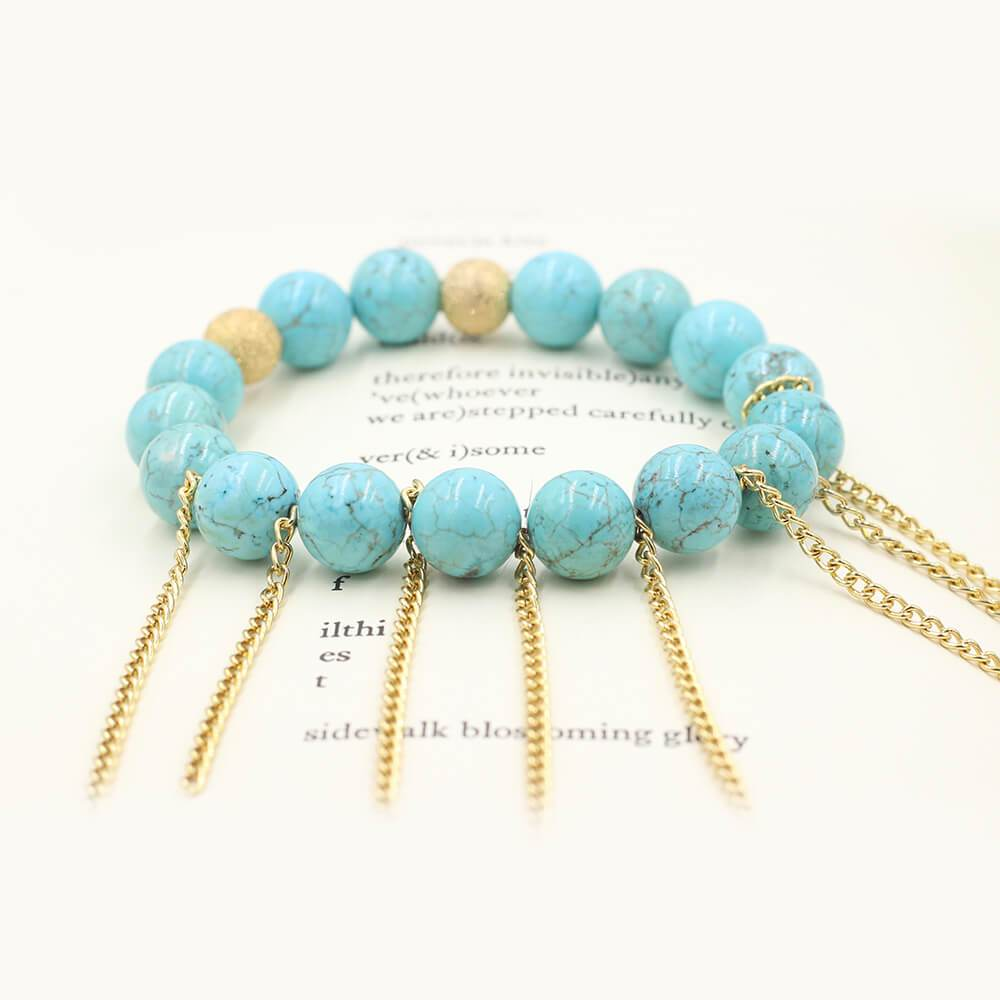 Susan Balaban Designed Healing Bracelet - This blue healing yoga bracelet is made of magnesite for growth and expansion.
