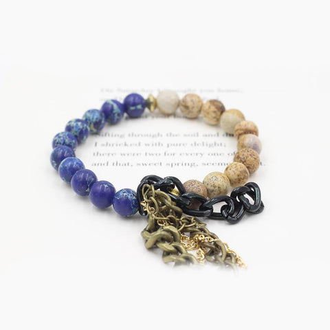 Susan Balaban Designed Healing Bracelet - This blue sea jasper and landscape jasper healing yoga bracelet for determination and courage.