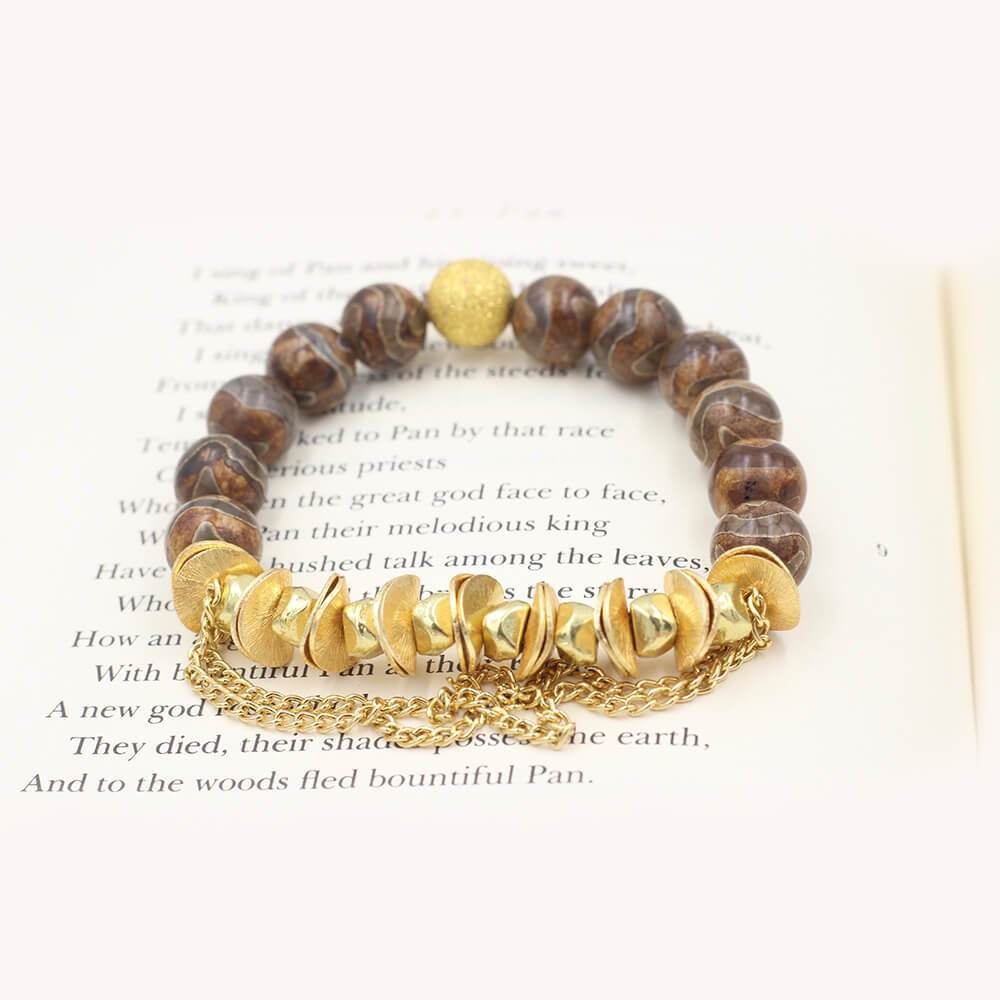Susan Balaban Designed Healing Bracelet - This brown tibetan agate healing yoga bracelet helps you stay on your path.
