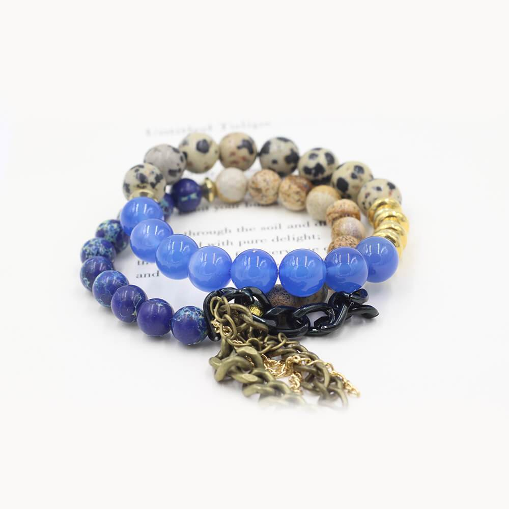 Susan Balaban Designed Healing Bracelet - These blue and black healing yoga bracelets made of agate and jasper keep you connected to your dreams.
