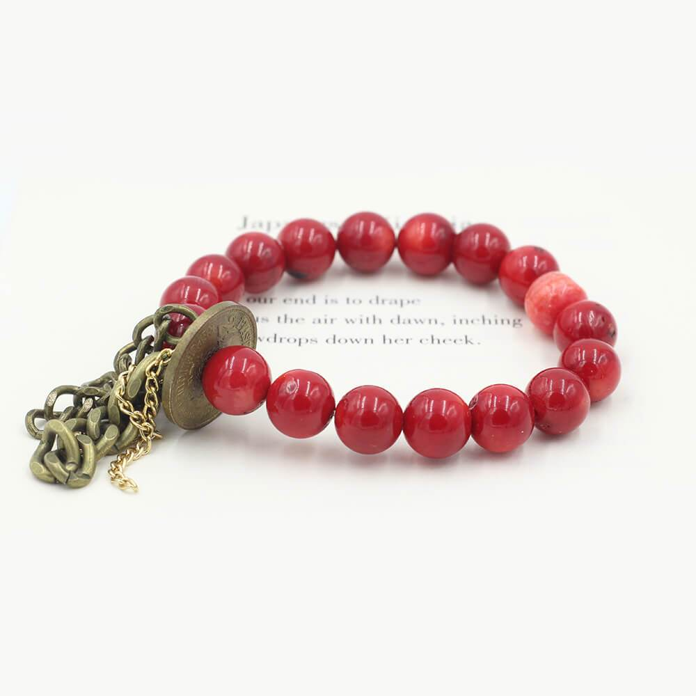 Susan Balaban Designed Healing Bracelet - This red healing yoga bracelet is made of coral and vintage coin for love, energy, passion