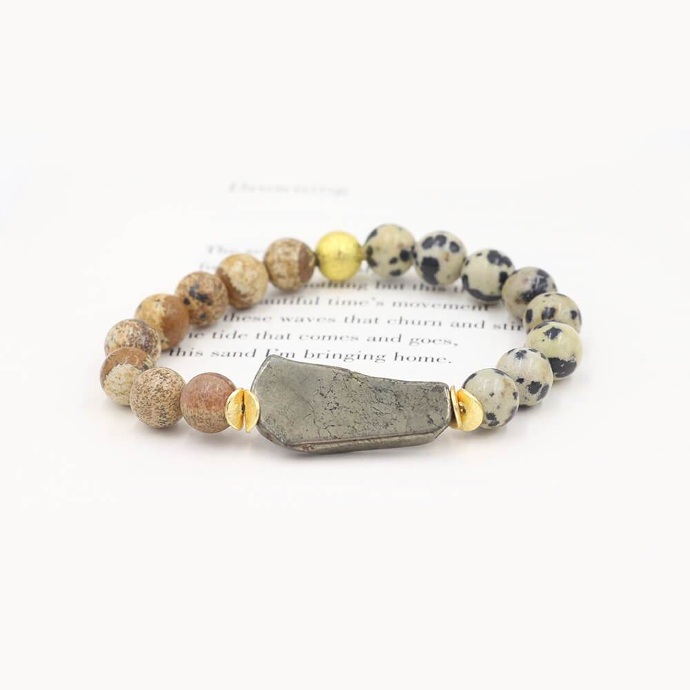 Susan Balaban Designed Healing Bracelet - This tan and black healing yoga bracelet is made of dalmation jasper and pyrite for laughter.