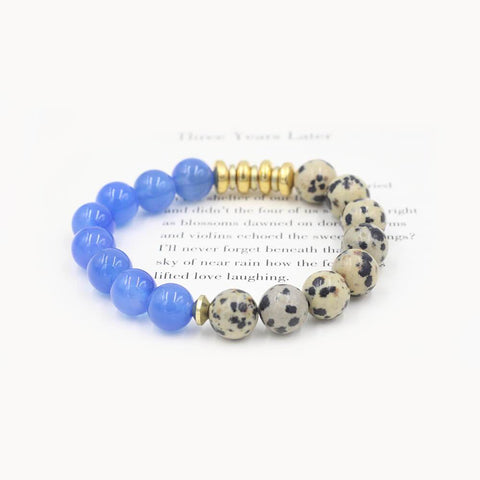 Susan Balaban Designed Healing Bracelet - This dalmation jasper and blue agate healing yoga bracelet bring beauty to all you do and see.