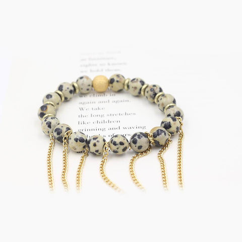 Susan Balaban Designed Healing Bracelet - This dalmation jasper healing yoga bracelet with fringe for dancing and celebrating life.