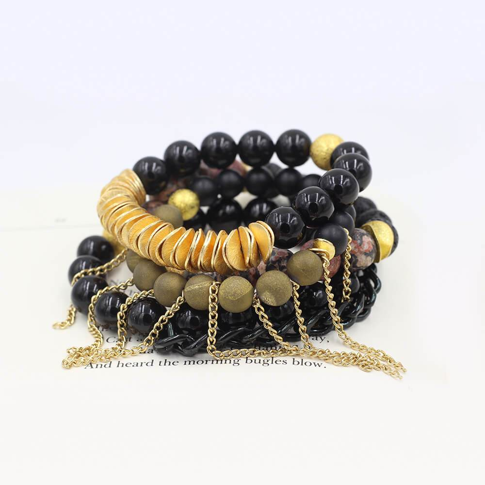 Susan Balaban Designed Healing Bracelet - These black and gold bracelets are made of lava stone, leopard jasper, druzy, tourmaline for fire, motivation, moving forward.