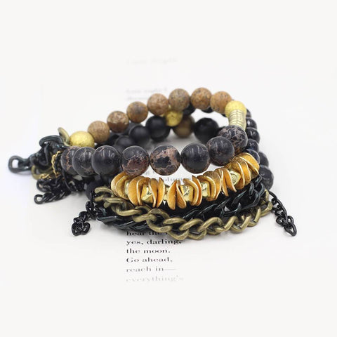 Susan Balaban Designed Healing Bracelet - These black and gold bracelets feature lava stone, jasper & tourmaline for good luck, expansion, manifesting.