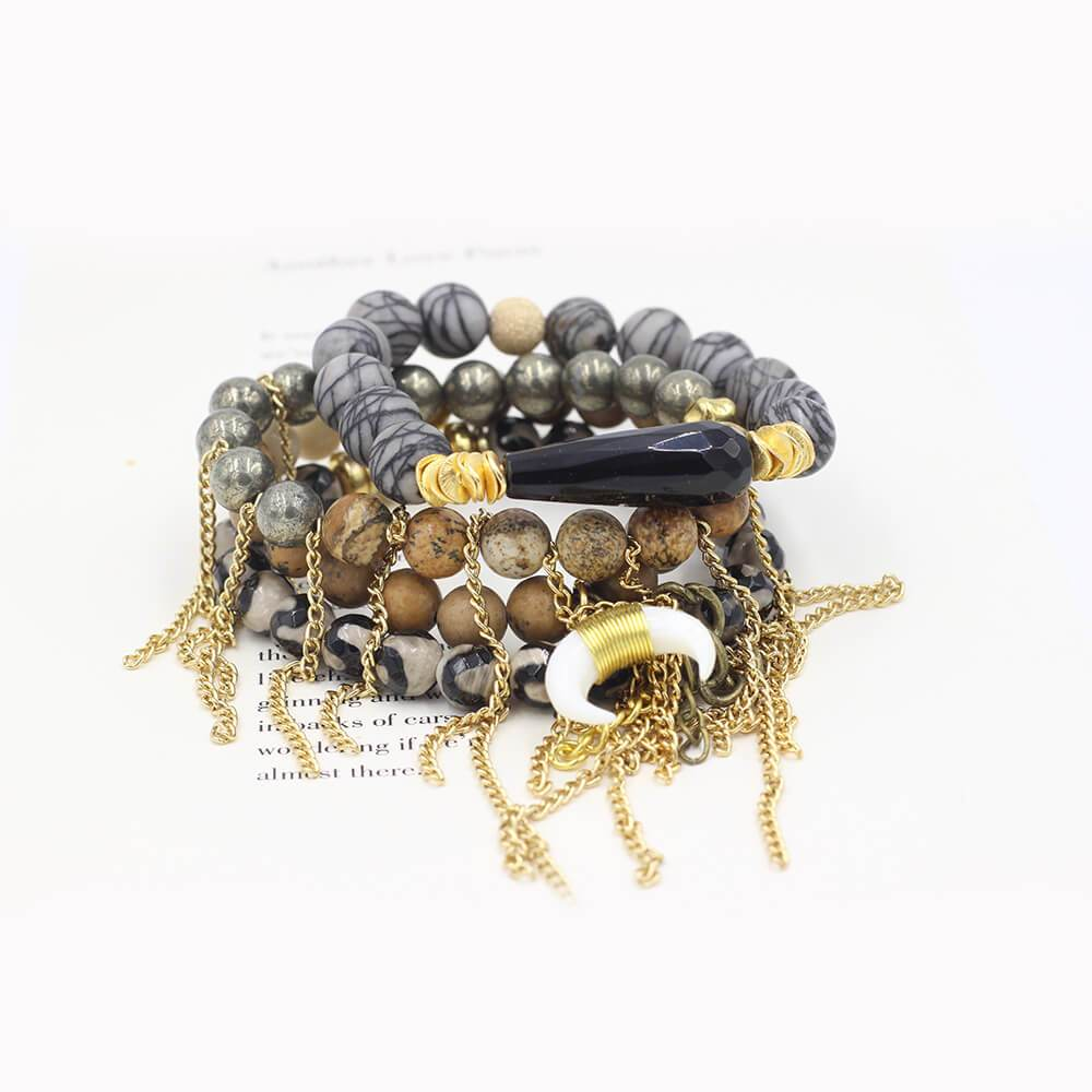 Susan Balaban Designed Healing Bracelet - These neutral gold tan and black healing yoga bracelets are made of agate, pyrite, jasper and silkstone for moving forward and calm.