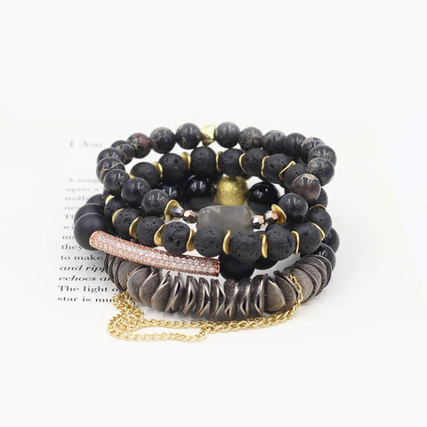 Susan Balaban Designed Healing Bracelet - These black healing yoga bracelets are made of lave, jasper, quartz, tourmaline & gold for spiritual awakening.