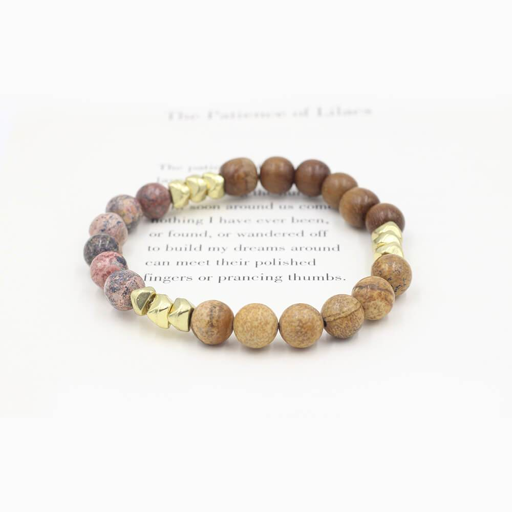 Susan Balaban Designed Healing Bracelet - This jasper mix healing yoga bracelet for balance, grounding, good luck.