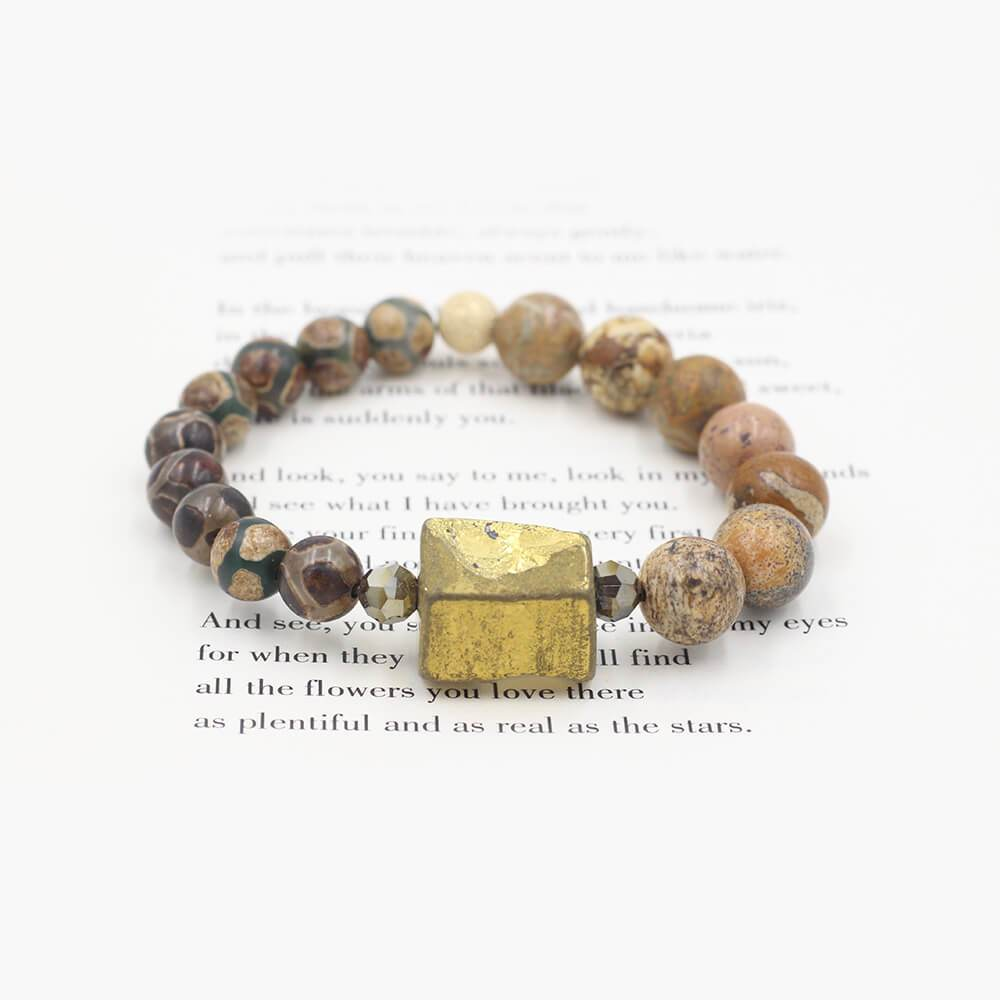 Susan Balaban Designed Healing Bracelet - This tan healing yoga bracelet is made of jasper and pyrite chunk for healing and energy.