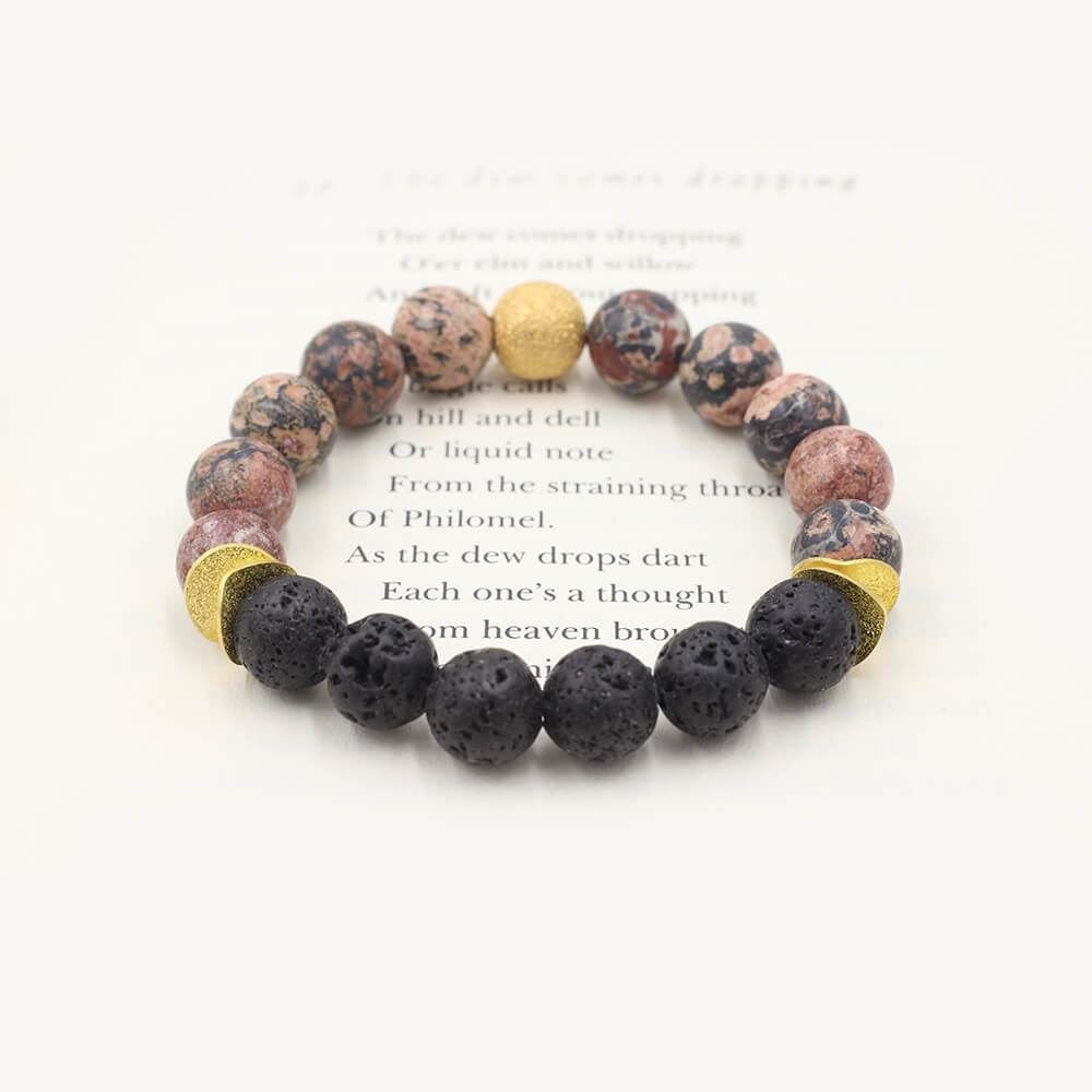 Susan Balaban Designed Healing Bracelet - This orange and black healing yoga bracelet is made of leopard jasper and lava stone for courage, confidence, power.