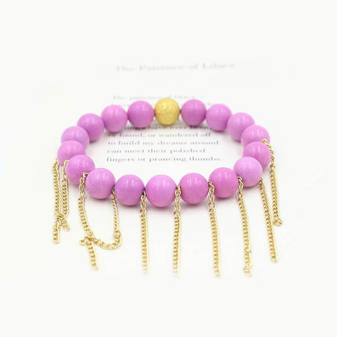 Susan Balaban Designed Healing Bracelet - This purple healing yoga bracelet features lilac jasper and fringe for energy and inspiration.