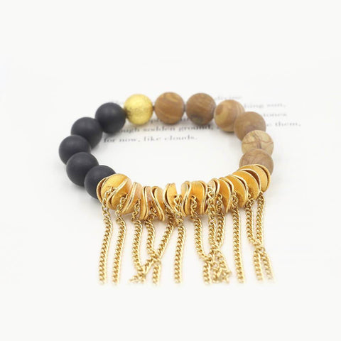 Susan Balaban Designed Healing Bracelet - This tan and black healing yoga bracelet with fringe for balance, simplicity.