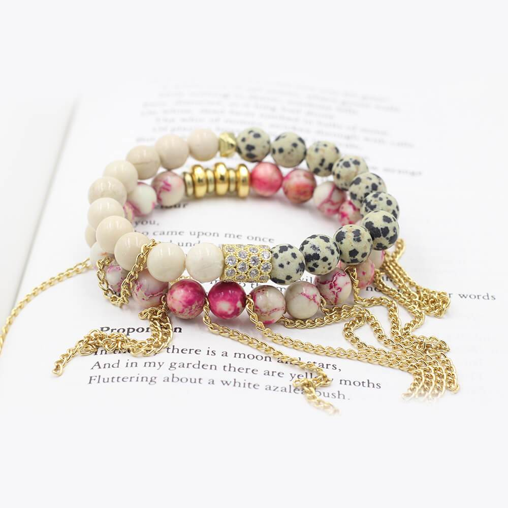 Susan Balaban Designed Healing Bracelet - These pink and red healing yoga bracelets for joy, hope, inspiration.