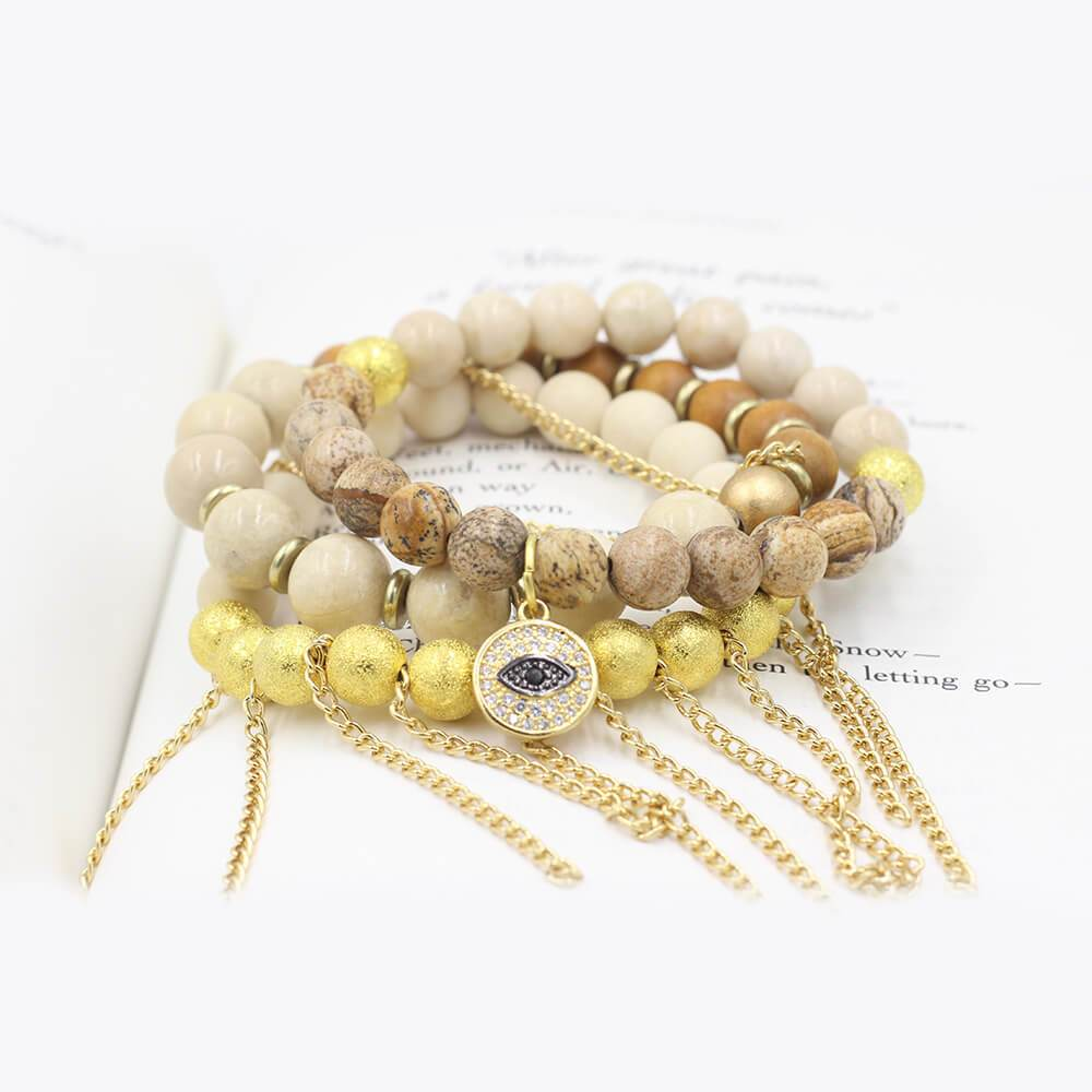 Susan Balaban Designed Healing Bracelet - These gold and ivory bracelets made of jasper, 14 kt gold and riverstone for potential.