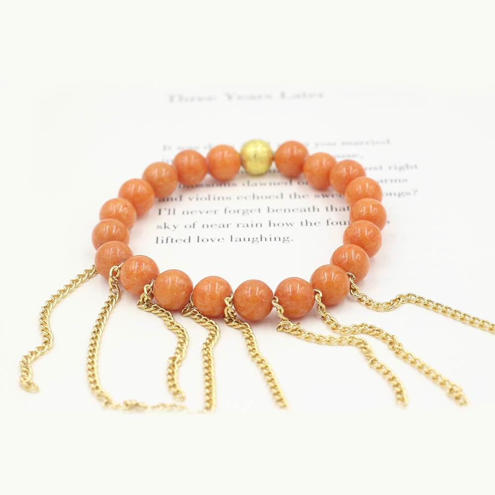Susan Balaban Designed Healing Bracelet - This orange fringe healing yoga bracelet for light, courage, moving forward.