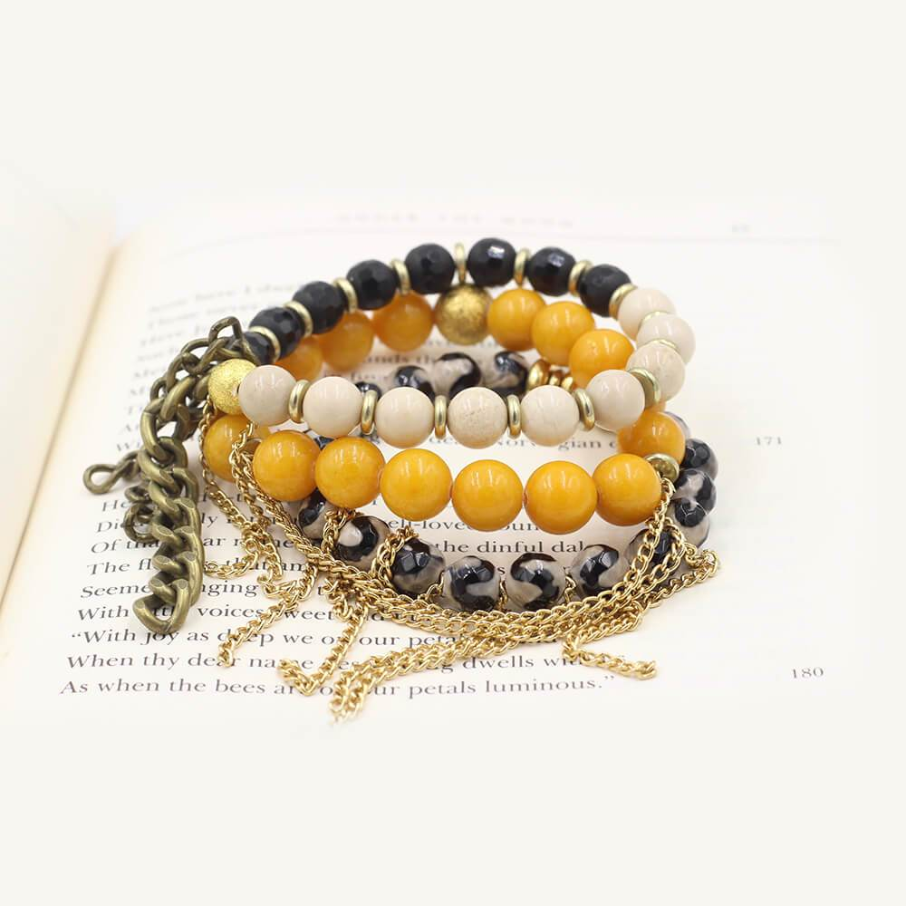 Susan Balaban Designed Healing Bracelet - These yellow and black yoga healing bracelets are made of jade, tibetan agate and riverstone for joy, appreciation, beauty.
