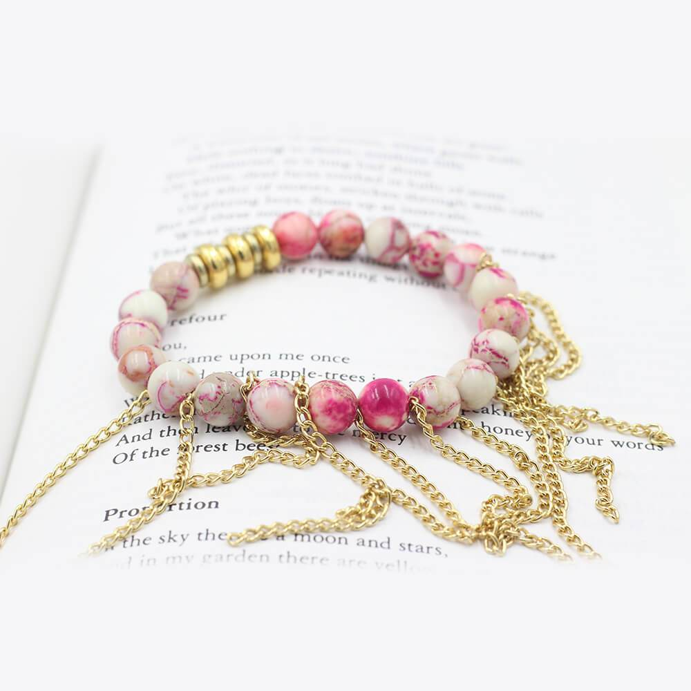 Susan Balaban Designed Healing Bracelet - This pink jasper healing yoga bracelet with fringe for inspiration and energy.