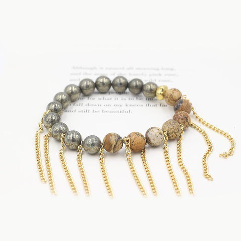 Susan Balaban Designed Healing Bracelet - This neutral and gold healing yoga bracelet is made of pyrite, leopard jasper and fringe for spiritual connection.