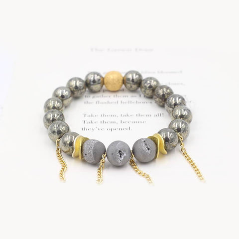 Susan Balaban Designed Healing Bracelet - This gold healing yoga bracelet is made of pyrite and druzy for intuition, acceptance.