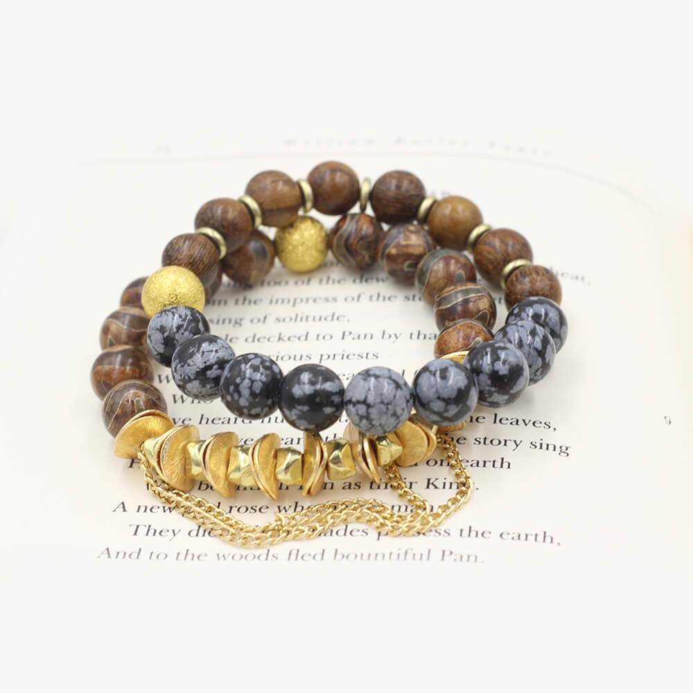 Susan Balaban Designed Healing Bracelet - These brown and black healing yoga bracelets made of snowflake obsidian and wood for not giving up.