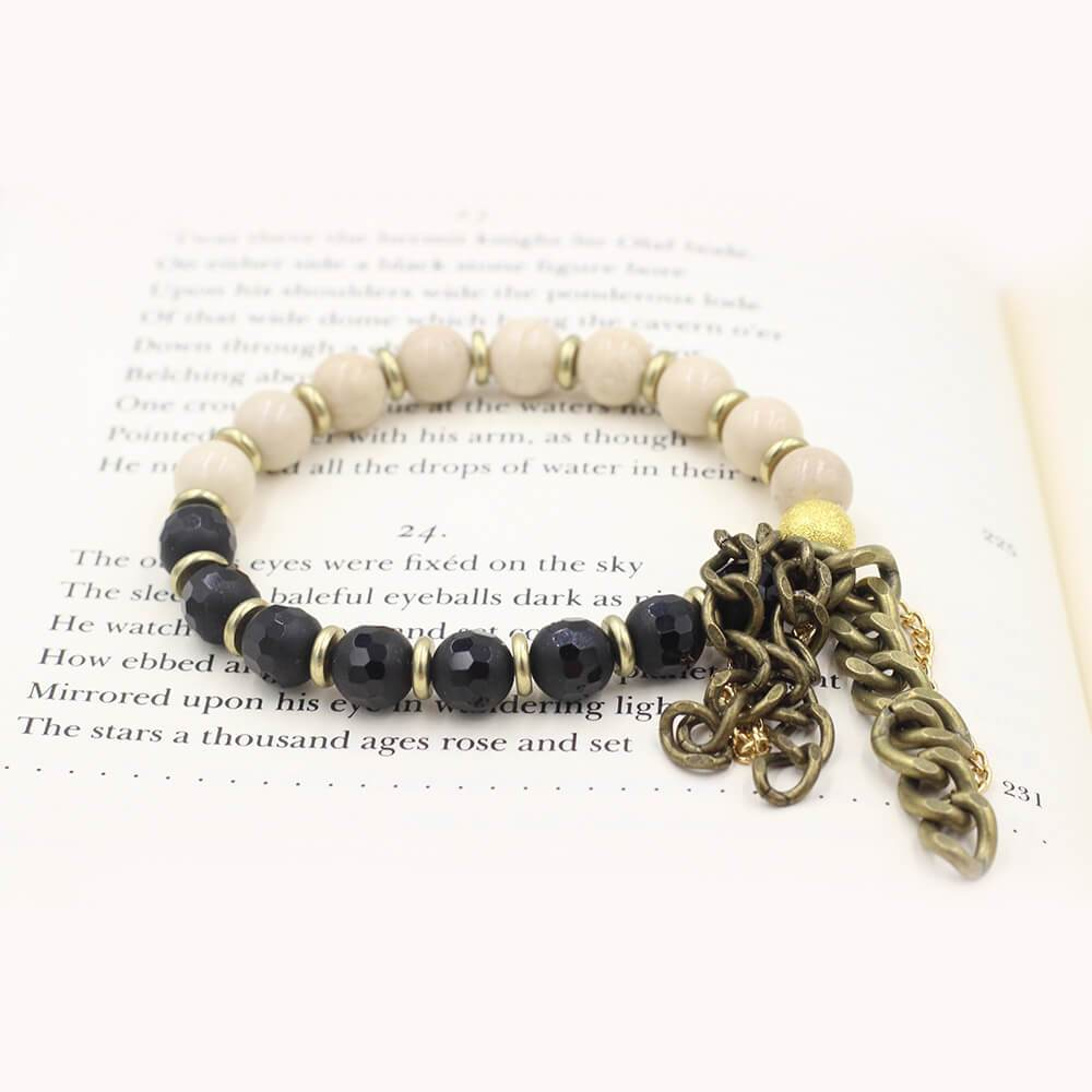 Susan Balaban Designed Healing Bracelet - This riverstone and faceted agate black healing yoga bracelet if for balance, clarity.