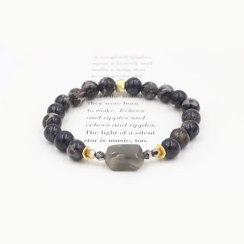Susan Balaban Designed Healing Bracelet - This black healing yoga bracelet is made of sea jasper & gray quartz for strength.