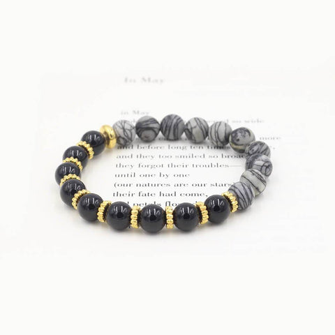 Susan Balaban Designed Healing Bracelet - This black and gray healing yoga bracelet of tourmaline and silkstone for enjoying life.