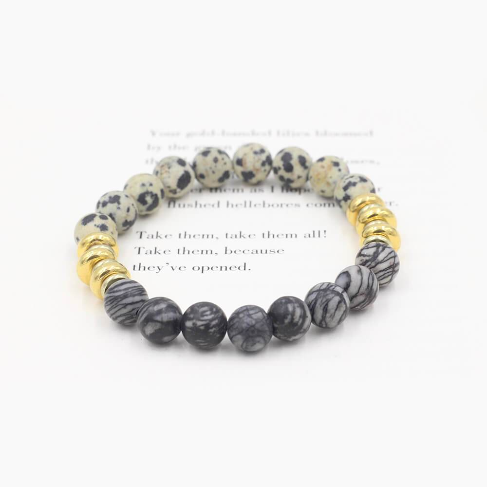 Susan Balaban Designed Healing Bracelet - This black and white healing yoga bracelet with jasper and silkstone is for self-expression and clarity.