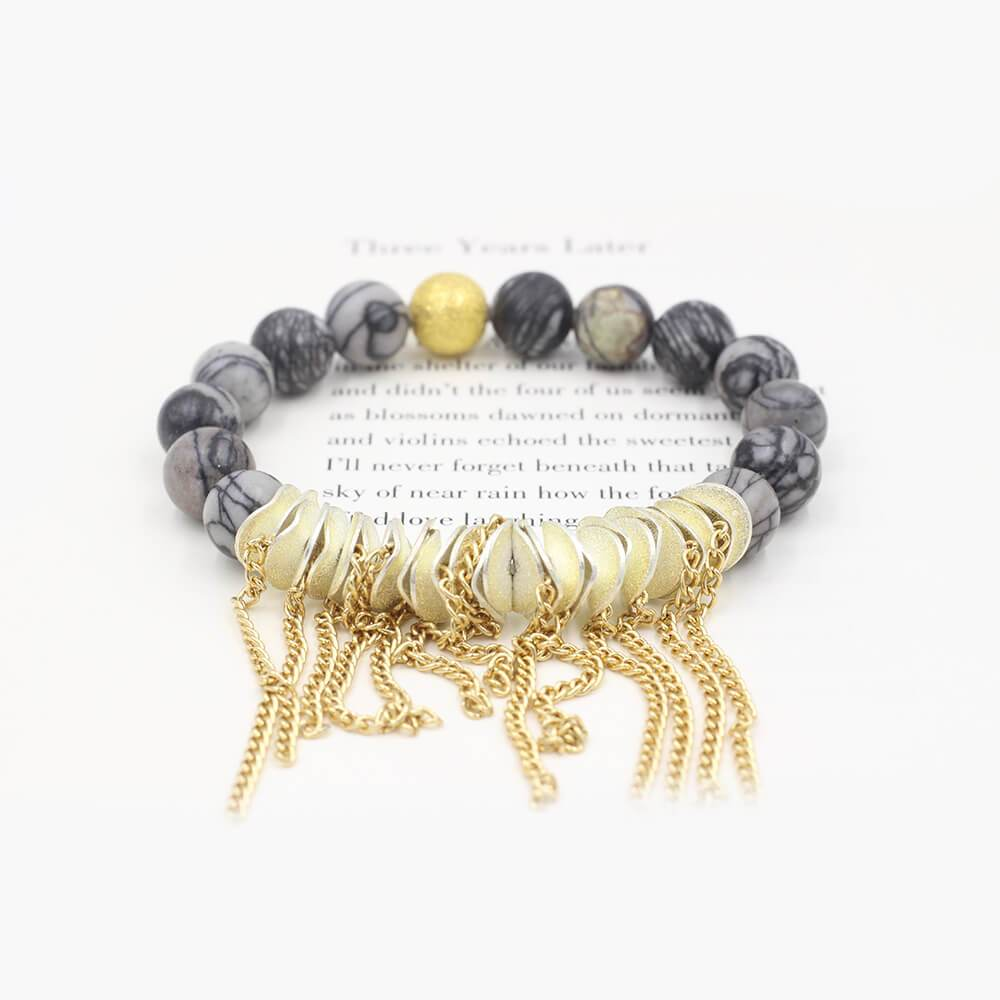 Susan Balaban Designed Healing Bracelet - This gray and silver healing yoga bracelet is made of silkstone for inspiration and motivation.